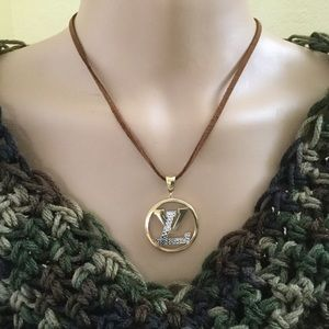 Boho Real 18K LV Initials Pendant Leather Necklace